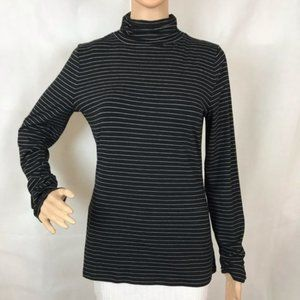 🏷 WHBM Top Size M Black White Stripe Long Sleeve